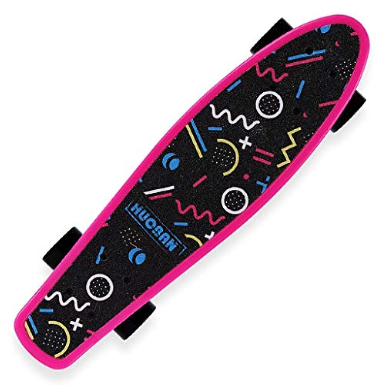 四輪の男の子と女の子のスケートボードの子供と10代の大人の初心者ブラシストリートトラベルロード小型フィッシュプレート(ブルー、ピンク) (Color : Pink)