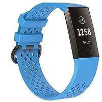 Comtax ユニセックス Fitbitチャージ3バンド/ベルト交換用バンド柔らかいシリコンバンド調整可能多色選択スポーツ交換ベルド(L、スカイブルー)