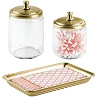 mDesign Bathroom Apothecary Storage Canisters and Tray for Vanity or Countertop - Set of 3 Soft Brass