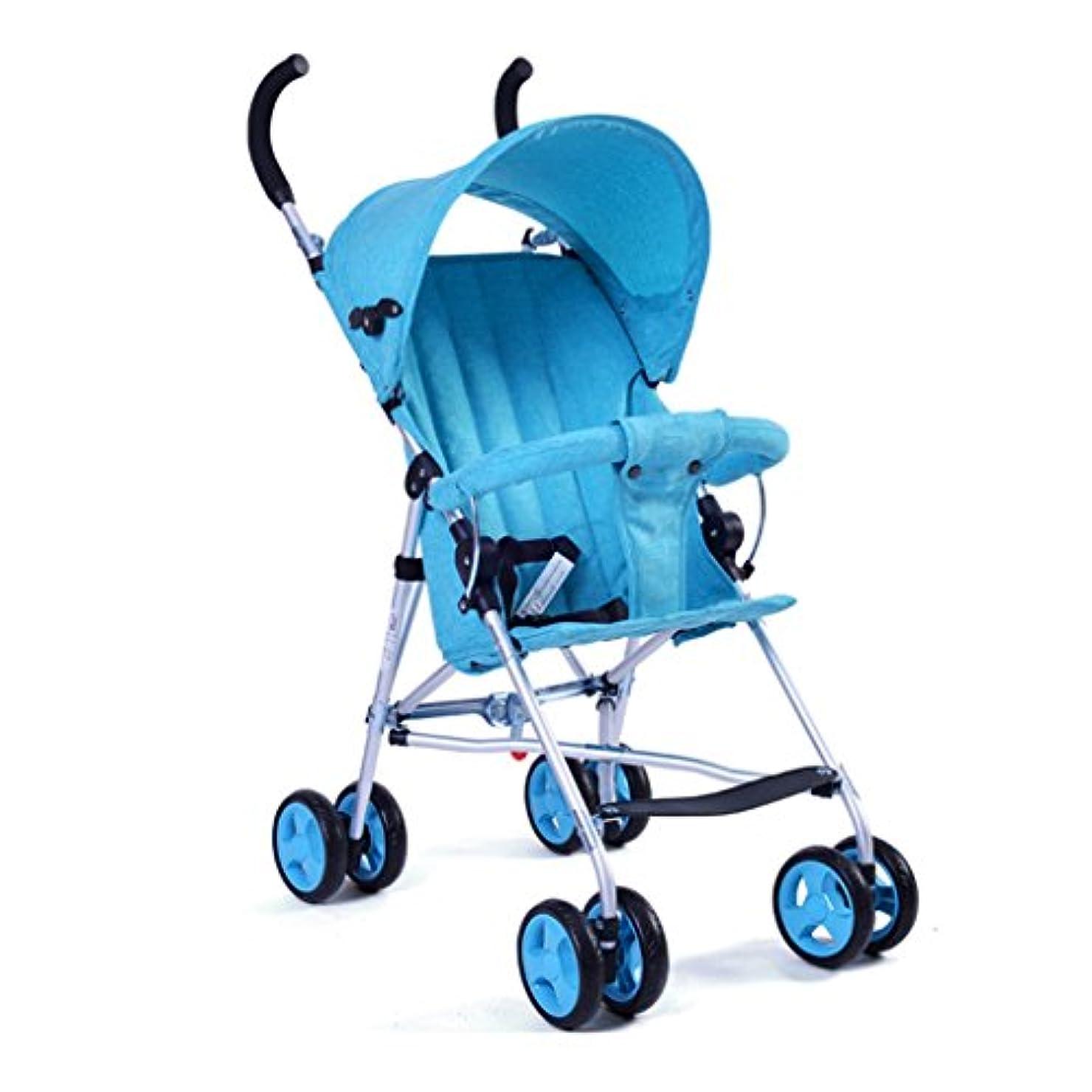 始めるに関して考えJIANXIN 夏の赤ちゃんのベビーカー超軽量のポータブル子供の傘折り畳みベビーカート通気性 (色 : 青)