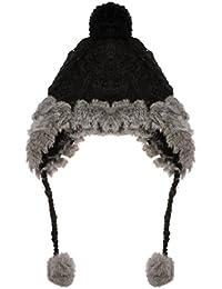 ZLYC厚く暖かい 帽子 イヤーフラップ付き ラビットファー ニット帽子 ビーニーキャップ レディース ファッション 防寒 フリーサイズ