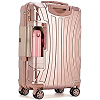 """PC Rolling Suitcase with Cup Holder,Travel Luggage Bag,Universal Wheel Trip Trolley Case,20""""22""""24""""26""""28"""" Inch High Quality Box (Color : Pink, Size : 28in)"""