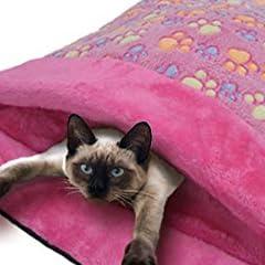 ふわふわ モコモコのベッド ペットベット 寝袋 足跡柄 ピンク