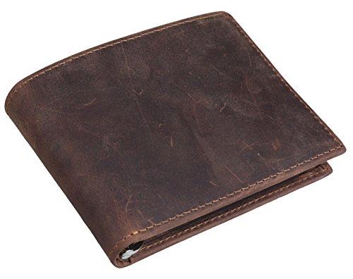 [(チョウギュウ) 潮牛] 薄マチ メンズ 本革 マネークリップ 二つ折り財布 カード入れあり 経年変化 オイルレザー ビンテージ ブラウン
