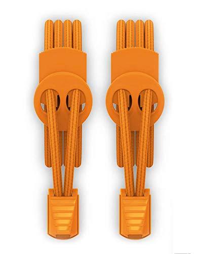 ゴム製結ばない靴紐 スニーカー 伸びる靴紐 ほどけない 簡単取り付け 靴紐が解けてイライラを解消 脱ぎ履きが楽々 子供から高齢者までも対応 一足分(オレンジ)