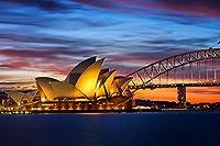 芸術品ズック製印刷ポスター、内装用品壁のデコレーションポスター(オーストラリア、シドニーオペラハウス、ブリッジの夜ライト)33x50cm