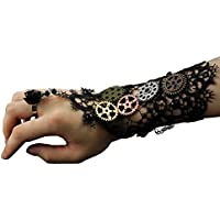 Womens Girls Steampunk Gears Lace Cuff Fingerless Gloves Black