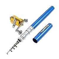 (blue) - LIXIANGNAN Mini Portable Pocket Fish Rod Pen Aluminium Alloy Fishing Rod Pole Reel Combos