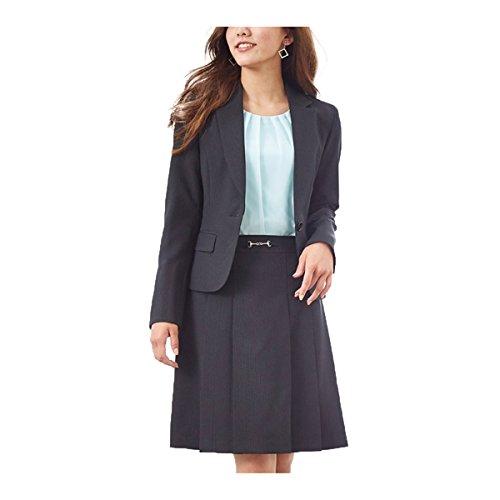 (ニッセン) nissen スーツ 上下 セットアップ ジャケット スカート 洗える オフィス ビジネス レディース 黒 × ブルーストライプ 13号