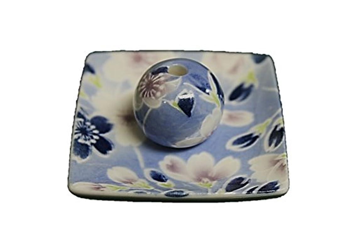 小川うつ傷つきやすい青染桜 小角皿 お香立て 陶器 ACSWEBSHOPオリジナル