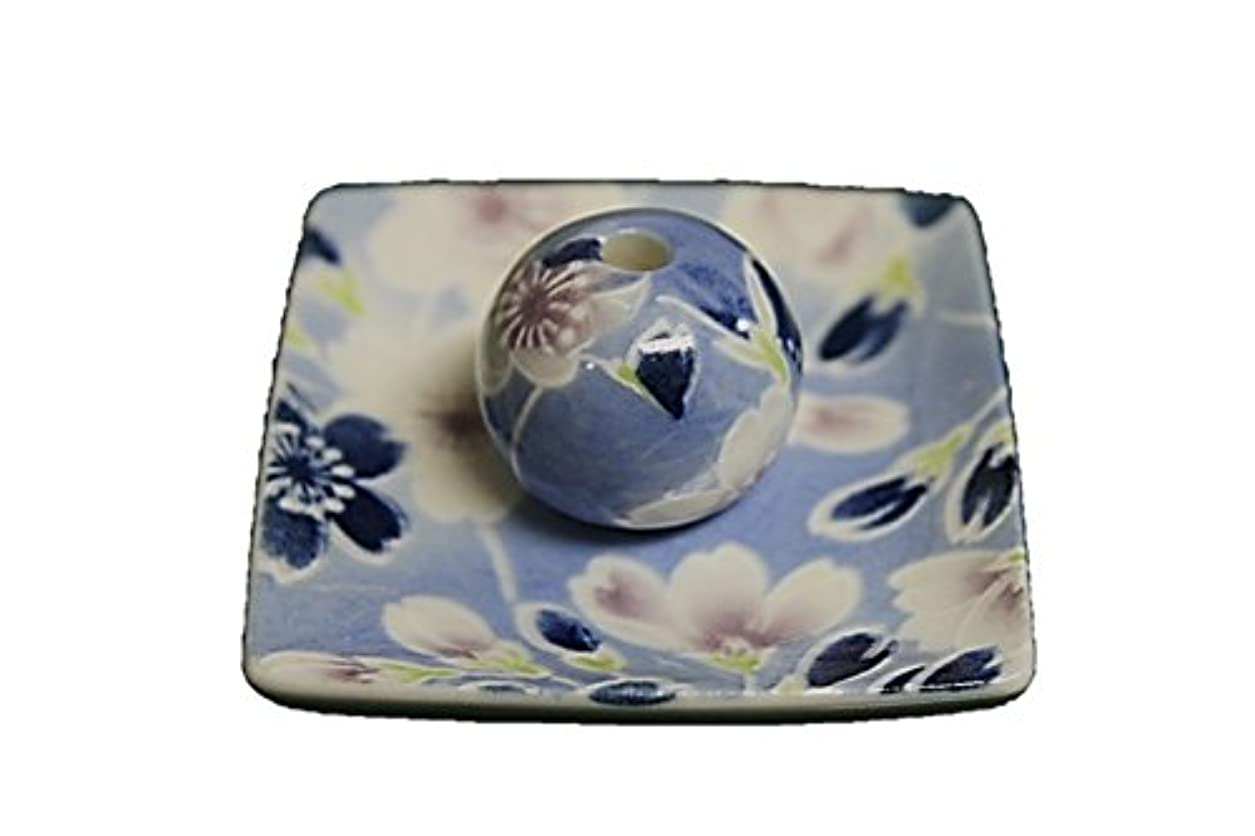 トークン排気広範囲に青染桜 小角皿 お香立て 陶器 ACSWEBSHOPオリジナル