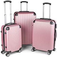 Milano Slim Line Light Weight 3 Piece Set Luggage Set Small Medium Large - Rose Gold