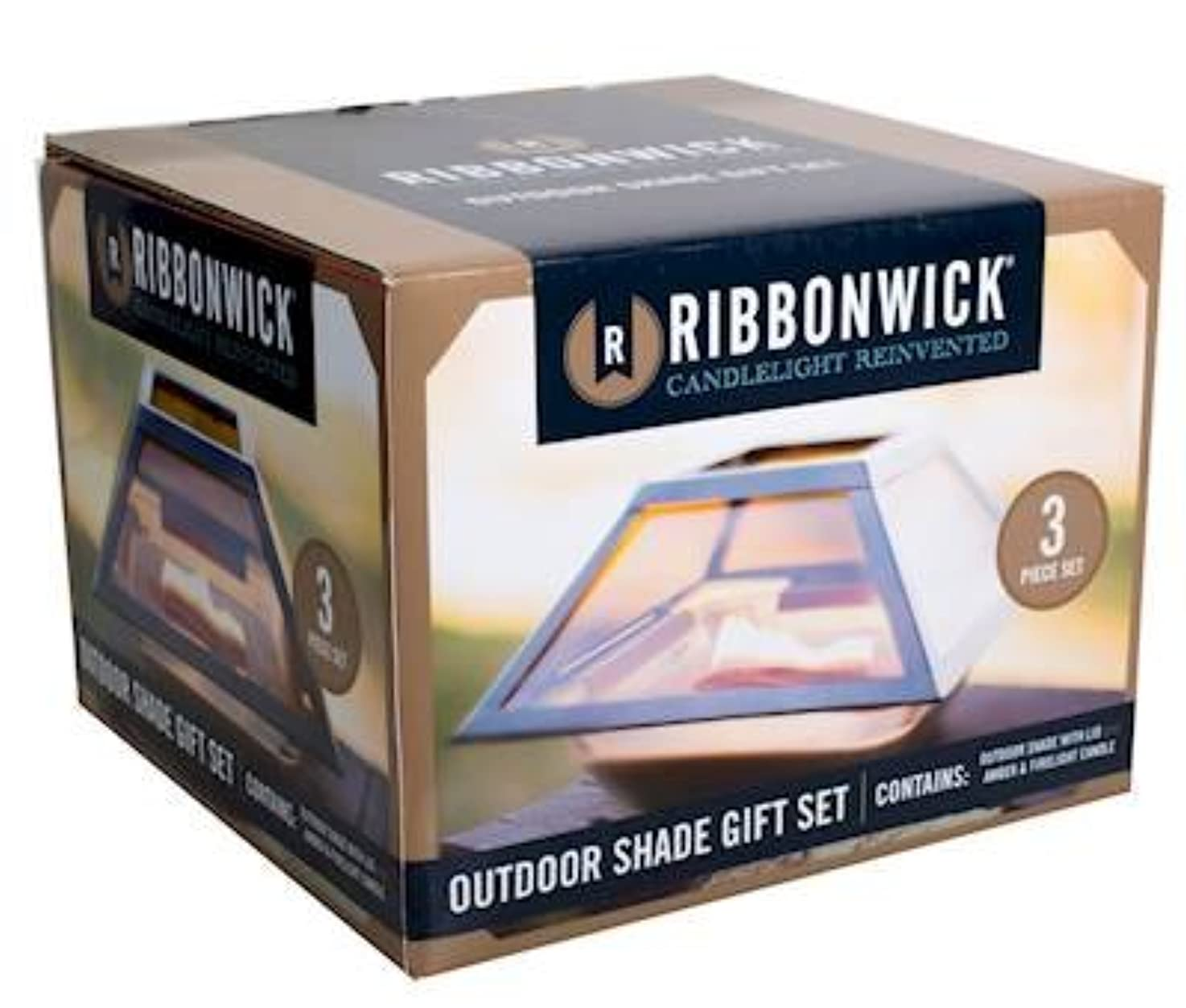 暫定のセグメント登るAmber Firelight 3ピースギフトセット装飾ガラスMedium RibbonWick Scented Candle