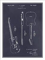 "1951Fender Telecaster Guitar特許印刷アートポスター額なしブラックボード18"" x 24"""
