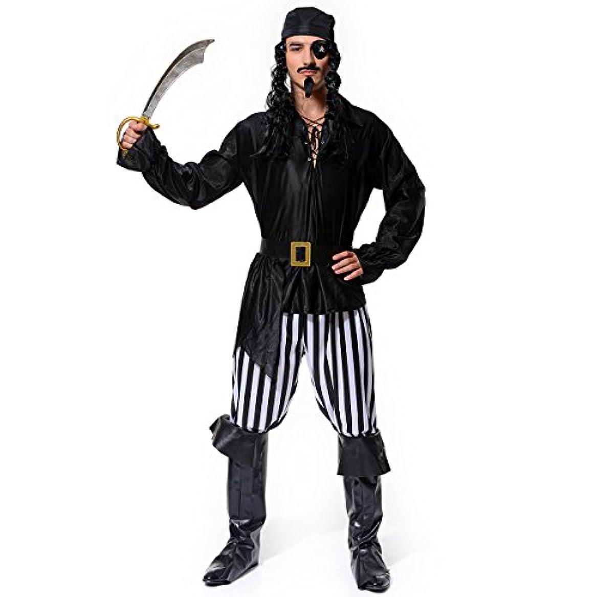 石炭エアコン帰るVeroman メンズ 海賊 パイレーツ コスプレ ハロウィン 衣装 仮装 (バンダナ、海賊服、ズボン、ブーツカバー、ベルト、眼帯の6点セット)