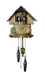 【新ムーブメント音量調整付】クォーツ式鳩時計カッコー時計 森の時計山小屋クロック430-6QMT
