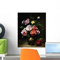 Painting Roses Vase Dominique Wall Mural by Wallmonkeys Peel and Stick Graphic (18 in H x 15 in W) WM46231 [並行輸入品]