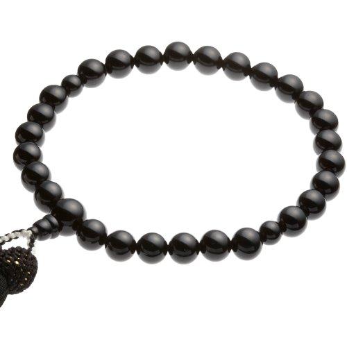 【青山仏具】黒瑪瑙(めのう・オニキス)数珠 男性用(主珠10mm)数珠袋(念珠入れ)付き【天然の正絹(シルク100%)を使用】すべての宗派で使える念珠