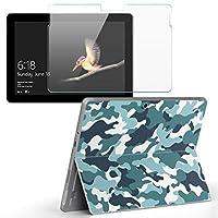 Surface go 専用スキンシール ガラスフィルム セット サーフェス go カバー ケース フィルム ステッカー アクセサリー 保護 迷彩 カモフラ 緑 010728
