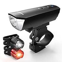 HOICMOIC自転車ライト、USB充電式LED自転車ライトセット、防水ヘッドライトテールライトコンビネーションLED自転車ライトセット(2000mahリチウム電池、4灯モードオプション、1 USBケーブル)