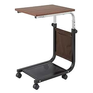 サイドテーブル キャスター付 キッチンワゴン 高さ調節 昇降式 サイドワゴン 介護テーブル ダークブラウン