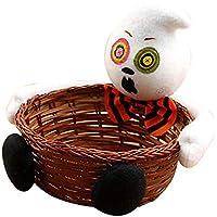 Baoblaze 籐 収納 コンテナ ハロウィン キャンディ バスケット パーティー 装飾 オーガナイザー - ホワイトゴースト