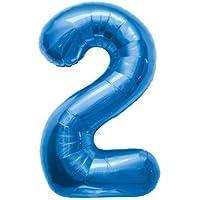 プレミアムレターバルーン ブルー 「2」 16インチ(約30cm)