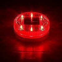 クインウィンド 太陽 6 LED 地下埋設光防水屋外庭芝生の風景池フローティングランプ - 赤