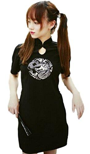 (プレイズショパン) ドラゴン刺繍 チャイナドレス 風 ミニ ワンピース かわいい セクシー 中国 アジアン 風 (S, 黒 ブラック)