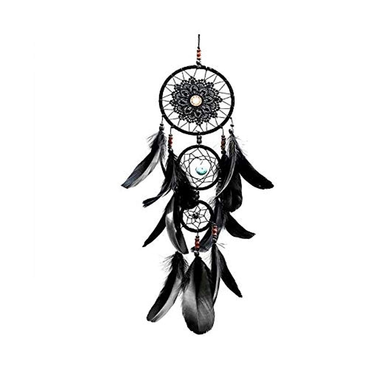 ハードウェアサンダー形容詞風鈴、黒の3環の装飾、家の装飾、ベッドルームのバルコニーの装飾のペンダント (Size : 57cm)
