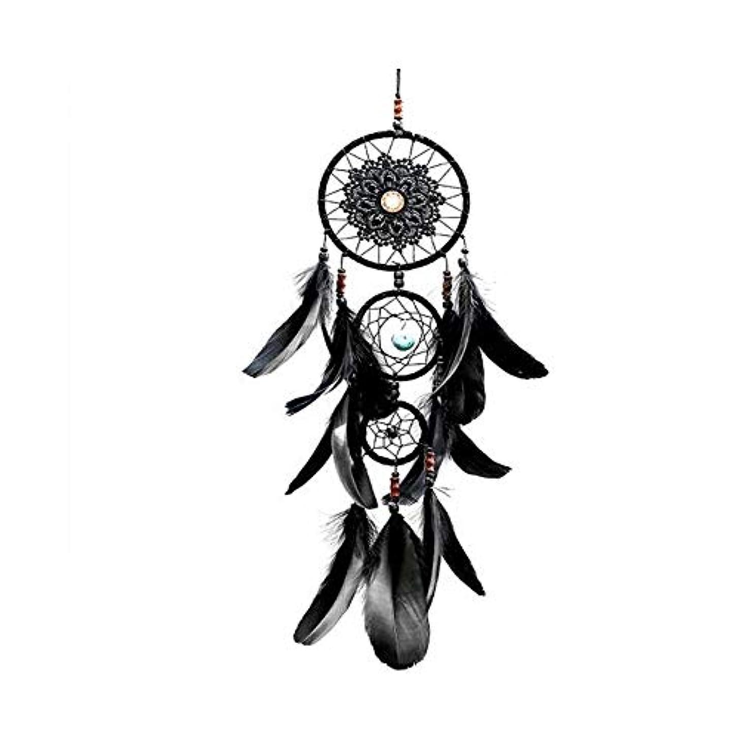 優越第二に荒涼とした風鈴、黒の3環の装飾、家の装飾、ベッドルームのバルコニーの装飾のペンダント (Size : 57cm)