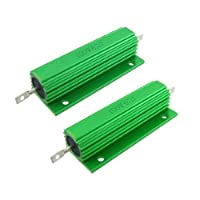 uxcell ハイフラ防止抵抗器 巻線型抵抗器 グリーン 100W 6Ohm5% 良好なパフォーマンス 2個入り