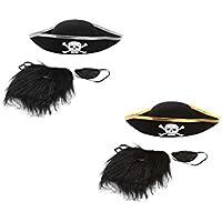 【ノーブランド品】帽子&ひげ アイパッチ 剣 キャプテンジャック 海賊 セット ハロウィン 子供 小道具 贈り物