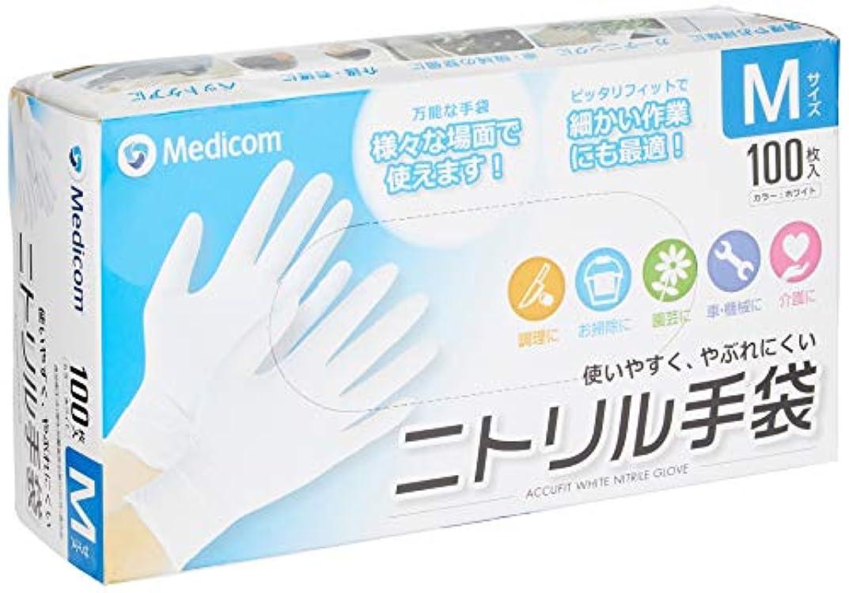 雹日食モンクアキュフィット ホワイト ニトリル手袋 Mサイズ ACFJN1284C