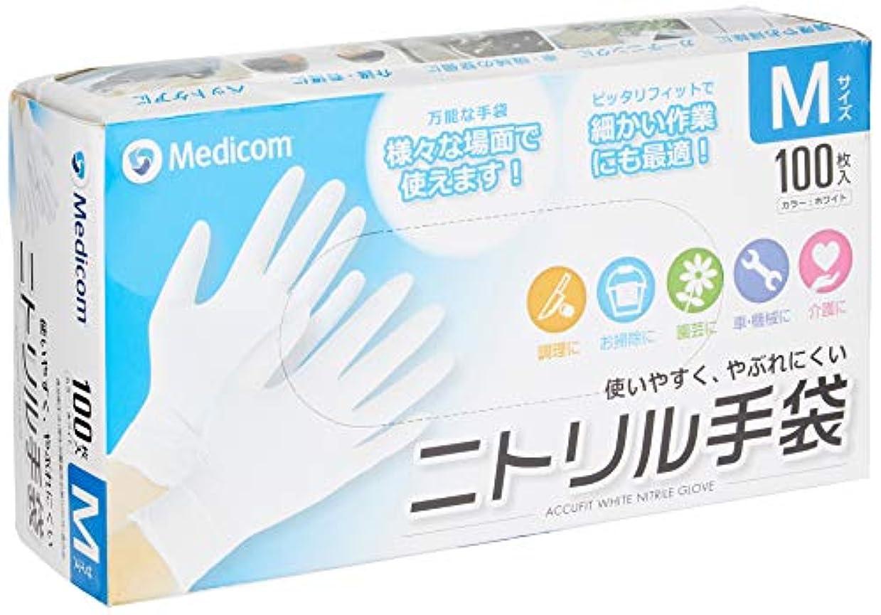 わざわざ感謝食事アキュフィット ホワイト ニトリル手袋 Mサイズ ACFJN1284C
