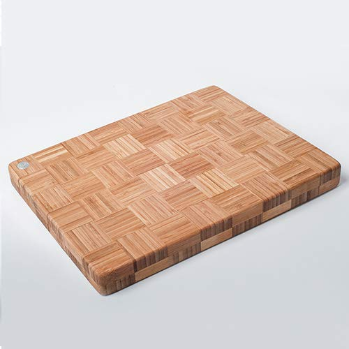 Licok Extra Large Organic Bamboo Chopping Board(Cutting Board) in End Grain | 45 x 33 x 3cm | Extra Thick Butchers Block