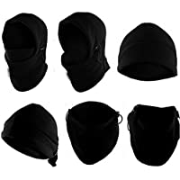 Sungpunet Neck Warmer Hoods Ski Motor Hat Winter Thermal Balaclava Scarf Fleece Face CS Mask - Double Layers (Black)