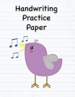 Handwriting Practice Paper: 8.5 x 11 Notebook with Dotted Lined Sheets - 100 Pages - Lavender Singing Bird