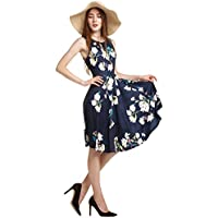Amoretu Women's Classic Floral Sleeveless Cocktail Dress Flare A-line Dress