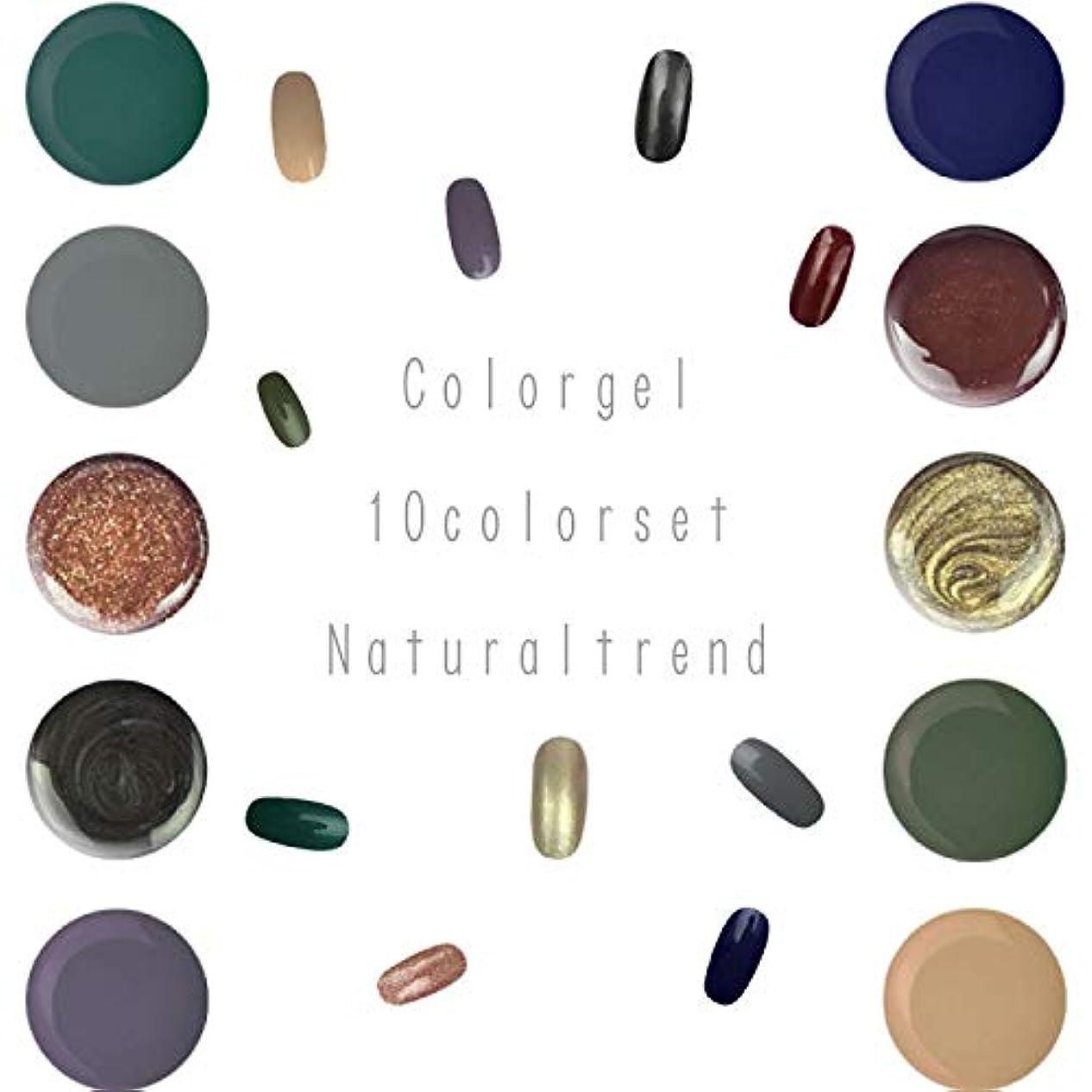 抹消褐色のれんNaturalTrend ジェルネイル 10色セット カラージェル カラージェルセット ジェルセット (Bセット)