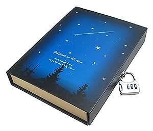 R-STYLE 心が落ち着く星空の風景デザイン 鍵付き で思い出をロック 専用ケース入り 日記帳 羽根スタイルのペン付きモデル (流星)
