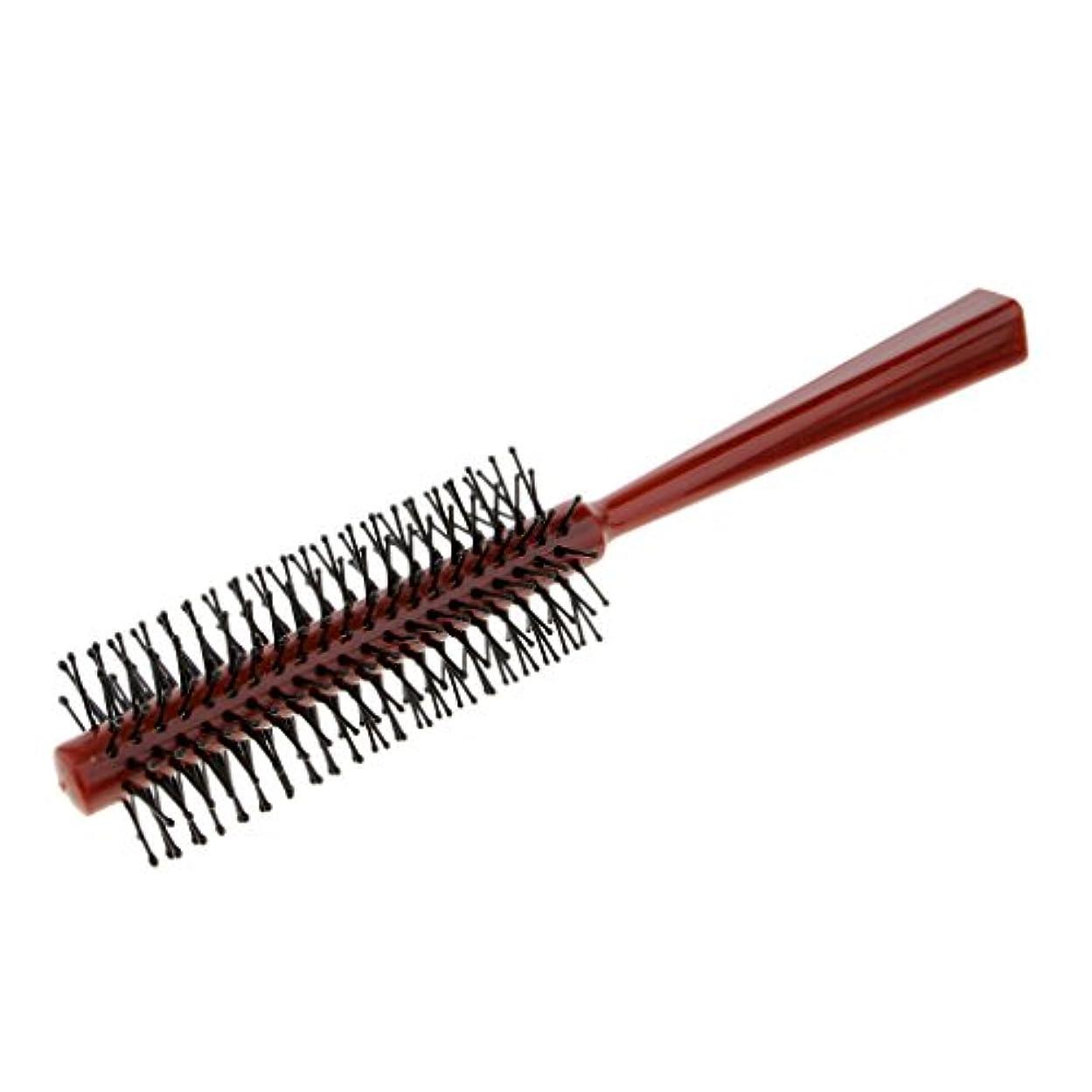 Fenteer ラウンドブラシ ロールブラシ ヘアコーム 頭皮マッサージャー プラスチック 全2色 - 赤