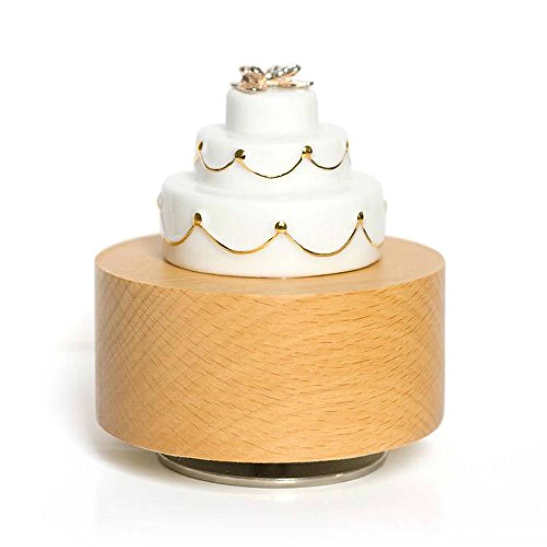 木製カップセラミックホワイトBear Figurine機械回転音楽ボックスby Freeloveの調整、' Castle in the Sky '、誕生日ガールフレンドギフト