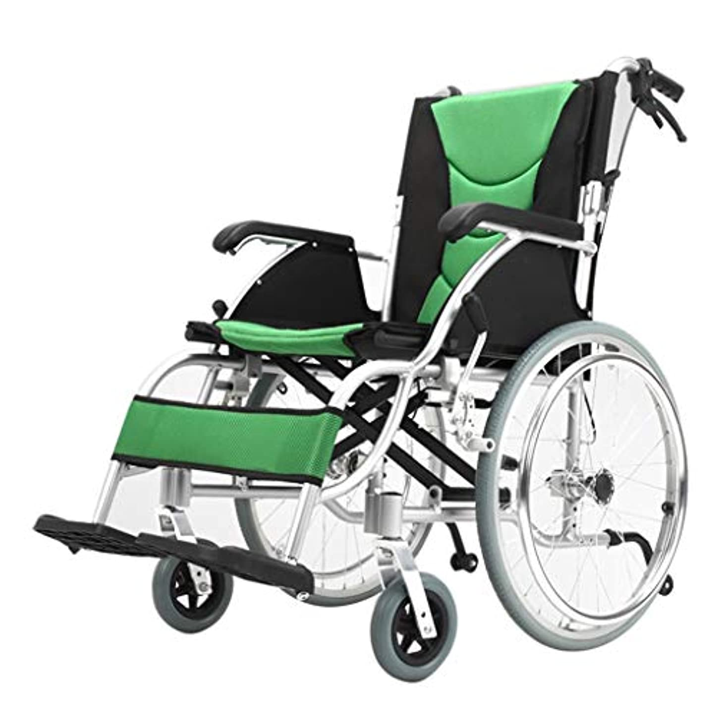 シート対象森車椅子折りたたみ軽量オールドカート、アルミ合金超軽量障害者旅行オールドスクーター、折りたたみ式背もたれ