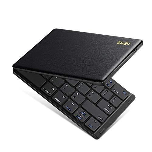 Ewin 新型 Bluetoothキーボード 折りたたみ式 157g 超軽量 薄型 レザーカバー 財布型 ワイヤレスキーボード USB 薄型 IOS/Android/Windows に対応 スマホ用 スタンド付 【日本語説明書と18月保証付き】(折りたたみ式, ブラック)