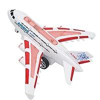 SUSUQI 飛行機 おもちゃ 飛行機モデル 航空機 電動旅客機 リモコン航空機 エアバス 子供 知育玩具 プラスチック製 プレゼント size 23.5x26x11cm (ピンク)