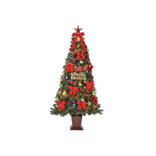 クリスマスツリー カラフルレッド セット 180cm 四角ポット セットツリー