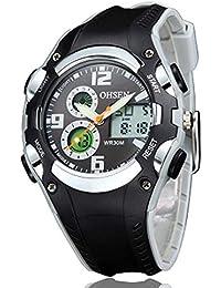 GOHUOS 腕時計 キッズ スポーツ 多機能 アナデジ表示 日付曜日 アラーム クロノグラフ アナデジ表示 ELバックライト ストップウォッチ (ブラック)