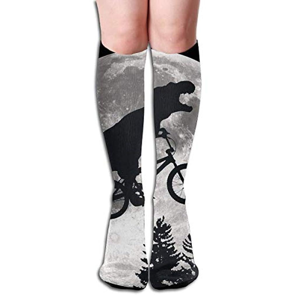 敬意を表するアルファベットアソシエイトqrriy女性の恐竜自転車と月ソフトクリスマス膝高ストッキング靴下、クリスマス楽しいカラフルなドレスソックス