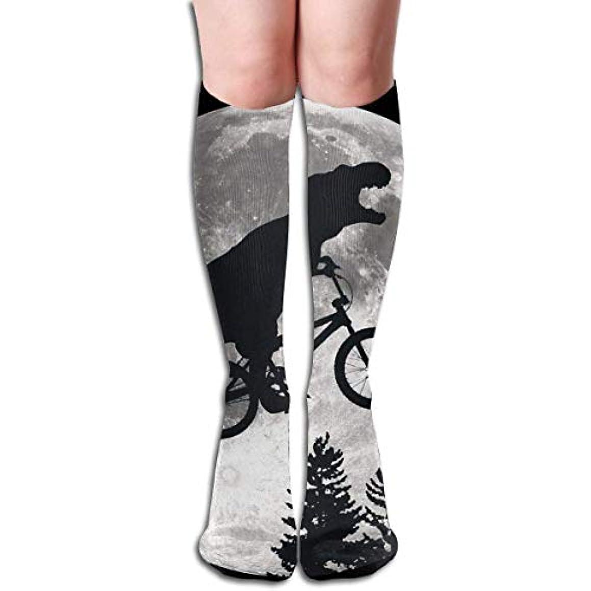 不快なチャールズキージングベルトqrriy女性の恐竜自転車と月ソフトクリスマス膝高ストッキング靴下、クリスマス楽しいカラフルなドレスソックス
